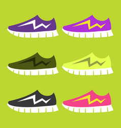 Bright sport sneakers set flat editable vector