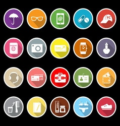 Travel luggage preparation flat icons with long vector