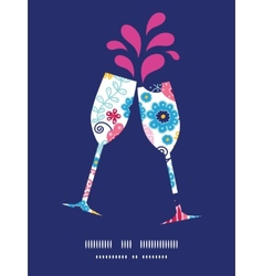 Fairytale flowers toasting wine glasses vector