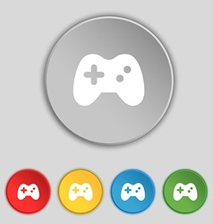 Joystick icon sign symbol on five flat buttons vector