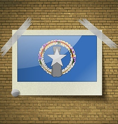 Flags marianna islands at frame on a brick vector