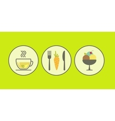 Set of modern flat icons with vegetarian products vector