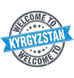 Welcome to kyrgyzstan blue round vintage stamp vector