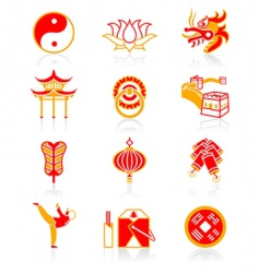 Chinese culture icons vector image