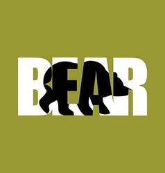 Bear silhouette text wild beast and typography vector