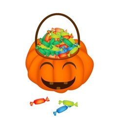 A Happy Jack-o-Lantern Pumpkin Basket with Candies vector image