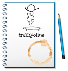 A notebook with a trampoline at the cover vector image