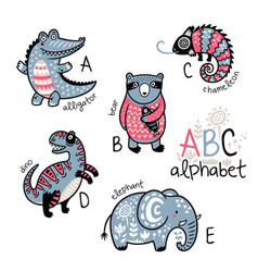 animals alphabet a - e for children vector image