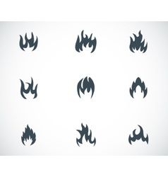 black fire icons set vector image vector image