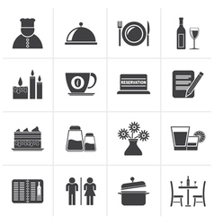 Black Restaurant cafe and bar icons vector image vector image