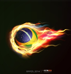 Brazil flag with flying soccer ball on fire vector