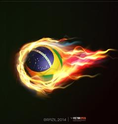 Brazil flag with flying soccer ball on fire vector
