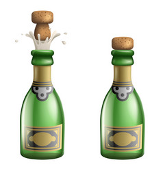 Champagne popping cork bottle pledge celebration vector