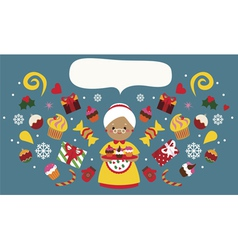 Christmas holiday design with grandmother with vector image vector image