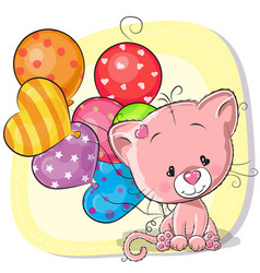 Cute cartoon kitten with balloons vector