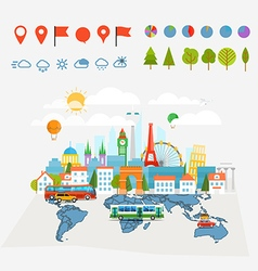 Earth maps map and different buildings and vector image vector image