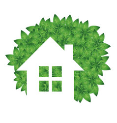 Eco house and green leaves vector