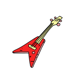 electric guitar cartoon hand drawn image vector image vector image