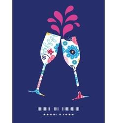 Fairytale flowers toasting wine glasses vector
