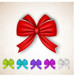 festive gift satin ribbon bows set vector image