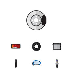 flat component set of wheel metal heater and vector image vector image