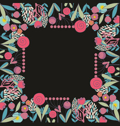 Floral frame for design vector