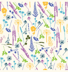 floral seamless pattern with wild flowers vector image