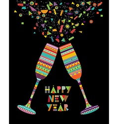 Fun happy new year design of drink glass party vector