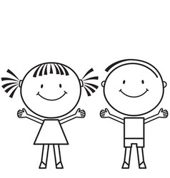 Girl and boy stand side by side vector