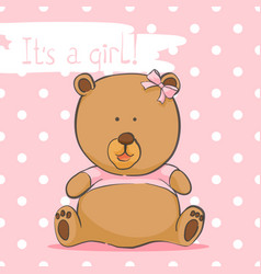 Greeting card with a bear on a pink background vector