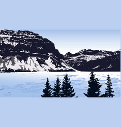 landscape with lake mountains and trees vector image vector image