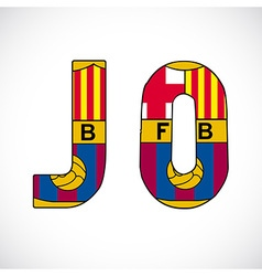 Letters with barcelonas logo vector
