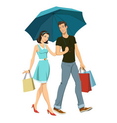 Loving couple under an umbrella vector