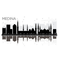 Medina saudi arabia city skyline black and white vector