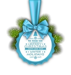 Merry christmas elegant card with bow ribbon vector