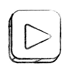 Monochrome sketch of square button with play vector