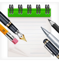 Notebook and writing tools vector image vector image