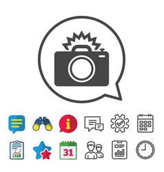 Photo camera sign icon photo flash symbol vector