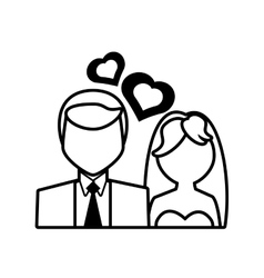 Pictogram couple wedding heart design vector