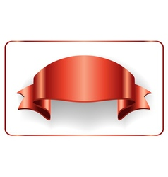 Red ribbon satin bow blank banner vector image vector image