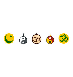 Religion sign icon set flat style vector