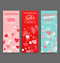 sale header for happy valentines day celebration vector image vector image