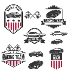 Set of the car racing labelsicons and design vector