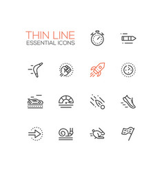 speed - modern single thin line icons set vector image vector image