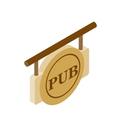 Street signboard of pub isometric 3d icon vector