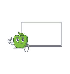 thumbs up green apple character cartoon with board vector image