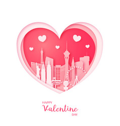 Valentines card paper cut heart and las vegas vector
