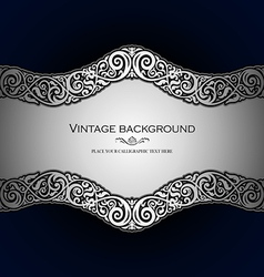 Vintage style blue ornamental background vector image vector image