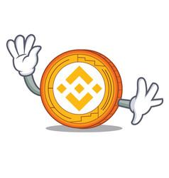 Waving binance coin character catoon vector