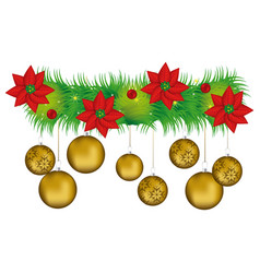 wreath with christmas flowers and golden garlands vector image